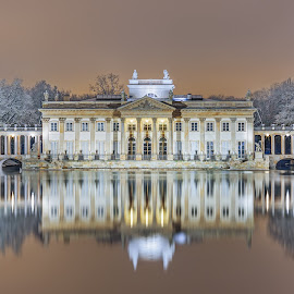 Palace on the Water by Earl Gray - Buildings & Architecture Public & Historical ( snow, long exposure, night, palace, warsaw, poland )