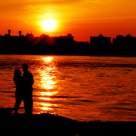 ONCE WE WERE STRANGERS by Kendall Eutemey - People Couples ( love, kendall eutemey, sunset, couple, evening, improving mood, moods, red, the mood factory, inspirational, passion, passionate, enthusiasm,  )