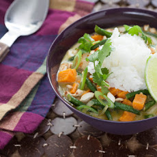 Vegetarian Green Coconut Curry with Jasmine Rice