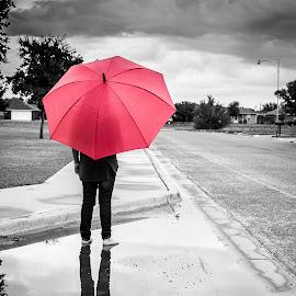 Waiting for More... by Joe Baker - City,  Street & Park  Street Scenes ( texas, beautiful, umbrella, cute kids, children, lubbock, kids, photography, photos, child, red, cloud, portraits, texas tech )