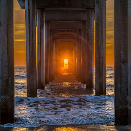 Corridor to the Sun by Evgeny Yorobe - Landscapes Sunsets & Sunrises ( water, san diego, sunset, pier, ocean )