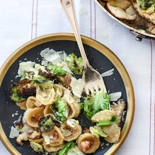 Carbonara Pasta With Charred Brussels Sprouts