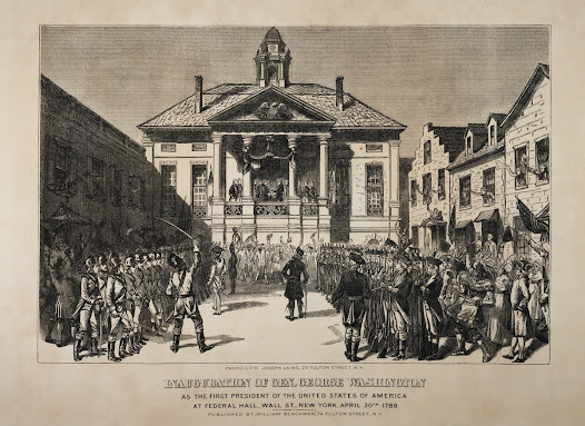 "<b>The First President</b>  On April 30, 1789, George Washington was inaugurated at <a href=""http://www.gilderlehrman.org/collections/2773fe29-35f1-43e4-aa91-440852564101"">Federal Hall</a> in New York City. As stipulated in the Constitution, he was elected not by popular vote but by the Electoral College.   Washington's decision in 1796 not to seek re-election after two terms, and thus to relinquish willingly the seat of power, earned him respect at home and abroad."