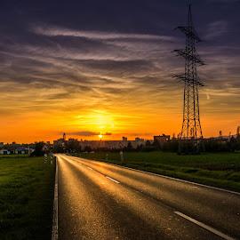 Sunset in Frankfurt by Pavle Peric - City,  Street & Park  Street Scenes ( dodge & burn, frankfurt am main, hdr, nature, sunset, street, nikon d5200, germany, landscape, city,  )