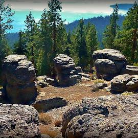 Picnic Rocks Overlooking Lake Tahoe by Samantha Linn - Landscapes Mountains & Hills