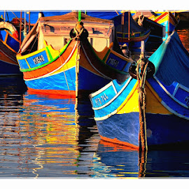 A  Threesome by Francis Xavier Camilleri - Transportation Boats ( prows, reflection, malta, colors, boats,  )