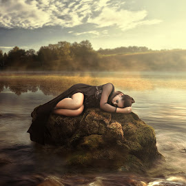 deep sleep by Allen Berame - Digital Art People ( fashion, concept, nature, woman, digital art, sleeping, scenery, sleep, conceptual, people )