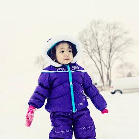 Snow Daze by Ruel Calitis - Babies & Children Toddlers ( winter, snow, children, chicago, kids, polar vortex, portrait )