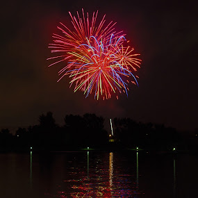 FireworksOverTheLake by Joanne Burke - Public Holidays July 4th ( holiday, night photography, fireworks, long exposure, july 4th )