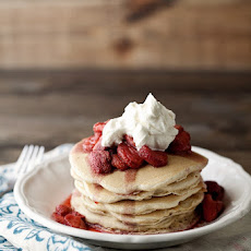 Pecan Wheat Pancakes with Maple Bourbon Strawberries