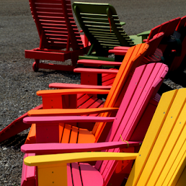 Adirondack Chairs by Marsha Biller - Artistic Objects Furniture ( colorful, chairs, adirondack, group )