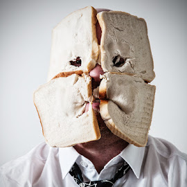 Breadface by Noel Taylor - People Portraits of Men ( selfie, tie, bread, bald, skeleton, holes, Selfie, self shot, portrait, self portrait )