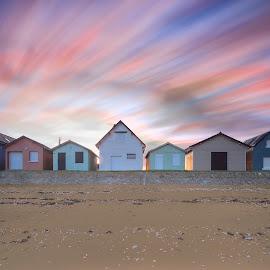 Waves by David De Vuyst - Landscapes Beaches ( lange sluitertijd, bunkers, huizen, vuurtoren, nd filter, dijk,  )