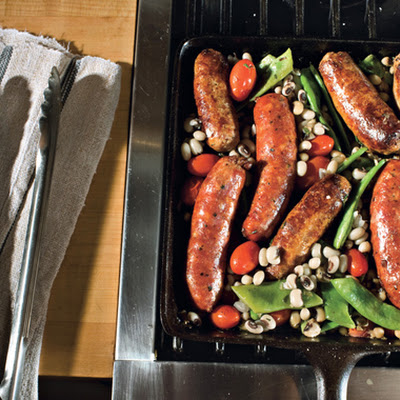 Skillet Sausages with Black-Eyed Peas, Romano Beans, and Tomatoes