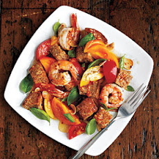 Tomato Panzanella with Shrimp and Basil
