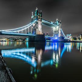 Twin Towers by Naf Selmani - Buildings & Architecture Bridges & Suspended Structures ( europe, londra, ロンドン, night lights, লন্ডন, architecture, cityoflondon, travel, artwork, photography, photooftheday, lights, londres, 伦敦, england, londýn, night photography, fine art photography, לונדון, لندن, lontoo, лондон, nikon, λονδίνο, uk, londen, art, nightscape, fineart, london, londyn, 런던, artistic, लंदन, summer, longexposure, nightscapes, iandthecamera, Urban, City, Lifestyle )