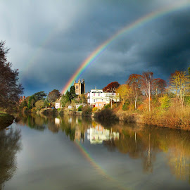 by James Blyth Currie - Landscapes Weather ( river wye, hereford, herefordshire, stormy clouds, rainbow )