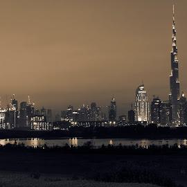 Dubai Sunset by Ali Sabbagh - City,  Street & Park  Skylines ( tower, skyline, sepia, black and white, burj khalifa, dubai, bnw, dxb )