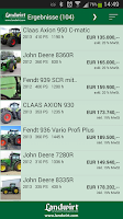 Screenshot of Used farm machinery search