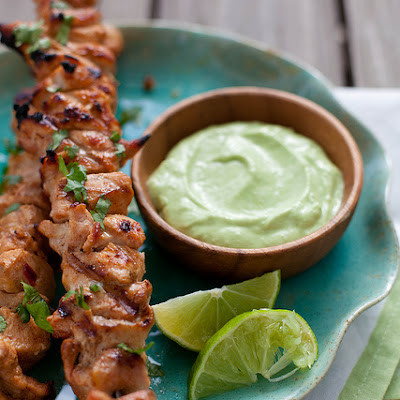 Chipotle Chicken Kabobs with Avocado Cream Sauce