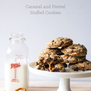 Beer and Pretzel Caramel Stuffed Chocolate Chip Cookies