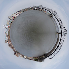 Peoria Riverfront Little Planet by Ethan Scholl - City,  Street & Park  Skylines ( illinois, peoria, cityscape, bridge, city )