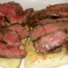 Steak Sandwich With Cheese on Garlic Bread