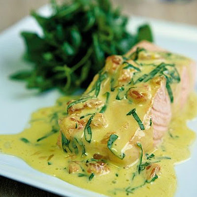 Poached Salmon With Pink Grapefruit & Basil Sauce