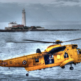 Sea King at St. Mary's by Russ Dixon - Transportation Helicopters
