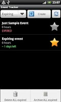 Screenshot of Event Tracker