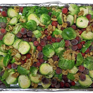 Oven Roasted Brussels Sprouts, Cranberries & Walnuts