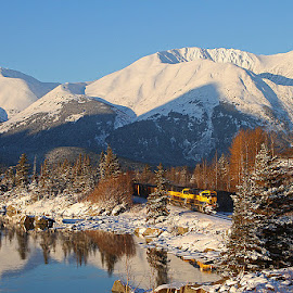 Bird Point by Frank Keller - Transportation Trains ( water, reflection, mountains, bird point, railroad, alaska, trains )