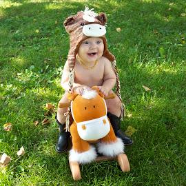 Ride 'em Cowboy! by Dale Kemp - Babies & Children Child Portraits ( child, riding, horse, smile, portrait )