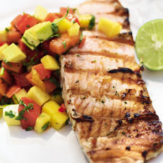 BBQ coconut salmon with passion island salsa