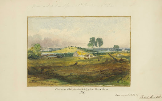 Robert Russell's depiction of Batman's Hill from the south side of the Yarra in 1844.