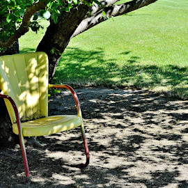 Out in the yard by Erin Czech - Artistic Objects Furniture ( chair, metal, yellow, dirt, shadows,  )