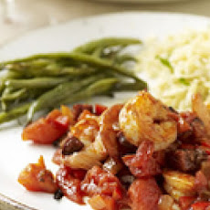 Spicy Shrimp, Cheesy Orzo and Roasted Green Beans