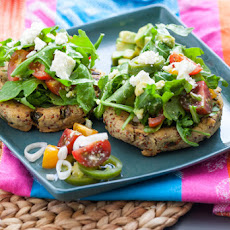 Sopes topped with Tomato-Avocado Salad & Quick Pickled Vegetables