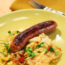 Beer-Braised Bratwurst with Cabbage