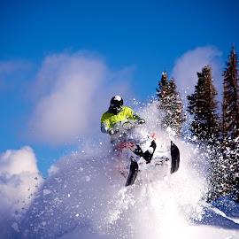 Powder Days by Ryan Searle - Sports & Fitness Snow Sports ( boondockers 11, polaris snowmobiles, wyoming, powder, klim, snowmobiling, aaron case )