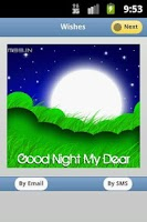 Screenshot of Good Night Greeting Cards