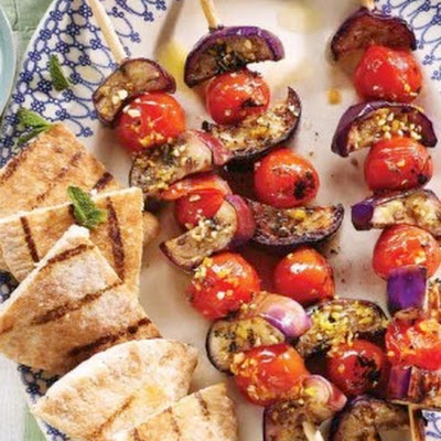 Grilled Eggplant Souvlaki with Zesty Yogurt Sauce