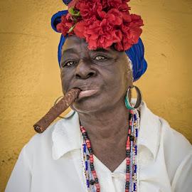 Got a light? by Nicholas Hill - People Street & Candids ( cigar, woman, street, havana, cuba )