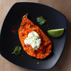 Coffee-Baked Sweet Potatoes with Chili Spice, Crème Fraîche, Lime & Cilantro