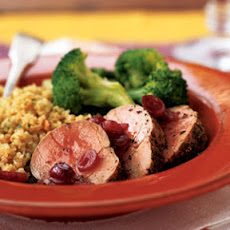 Roasted Pork Tenderloin Medallions with Dried Cranberry Sauce