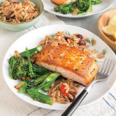 Seared Salmon Fillets with Orzo Pilaf