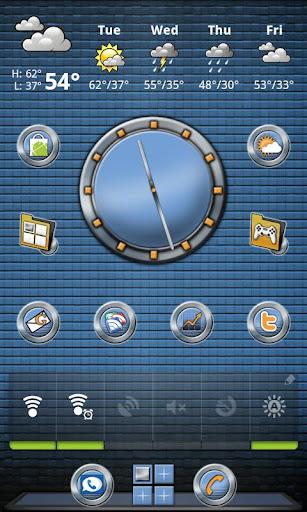 Metal Buttons:Blue Clock