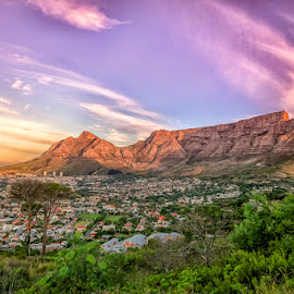 table mountain1 by Randall Langenhoven - Landscapes Mountains & Hills ( clouds, natural wonder, southafrica, mountain, wide angle, capetown )
