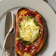 Baked Eggs with Spinach, Asparagus, and Prosciutto