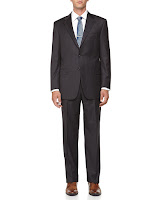 Hickey Freeman Pinstripe Two-Button Wool Suit, Charcoal - (44R)